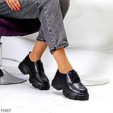 Жіночі туфлі чорні на шнурковке еко шкіра, фото 7