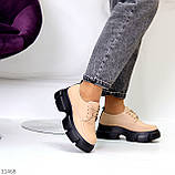Туфли / броги женские бежевые на шнуровке эко кожа, фото 4