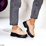 Туфли / броги женские бежевые на шнуровке эко кожа, фото 6