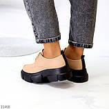 Туфли / броги женские бежевые на шнуровке эко кожа, фото 8