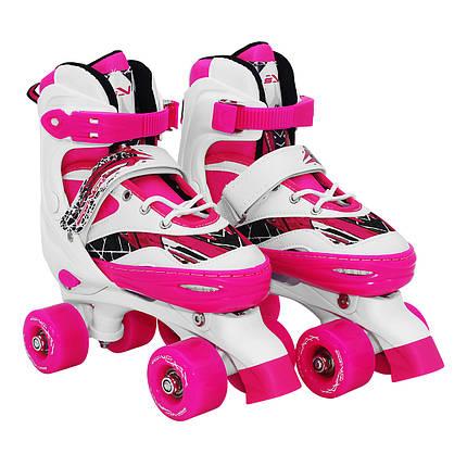 Роликові ковзани (квадроциклів) SportVida SV-LG0055 Size 35-38 White/Pink, фото 2