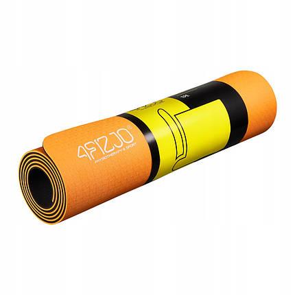 Коврик (мат) для йоги и фитнеса 4FIZJO TPE 6 мм 4FJ0034 Orange/Black, фото 2