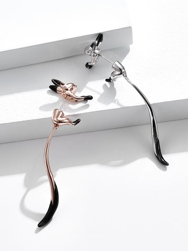 Креативні сережки Лисички, білі