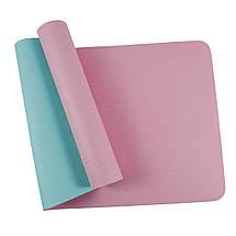 Килимок (мат) для йоги та фітнесу SportVida TPE 6 мм SV-HK0227 Pink/Sky Blue, фото 2