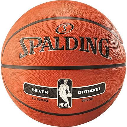 М'яч баскетбольний Spalding NBA Silver Outdoor Size 5, фото 2