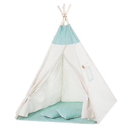 Детская палатка (вигвам) Springos Tipi XXL TIP04 White/Mint, фото 2
