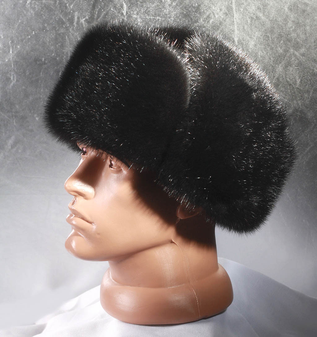 Мужская меховая шапка Ушанка из комбинированной кожи и норки
