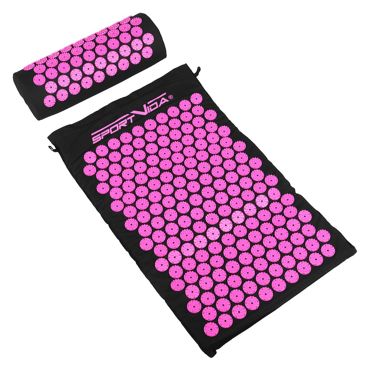 Коврик акупунктурный с валиком SportVida Аппликатор Кузнецова 66 x 40 см SV-HK0352 Black/Pink