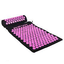 Коврик акупунктурный с валиком SportVida Аппликатор Кузнецова 66 x 40 см SV-HK0352 Black/Pink, фото 2