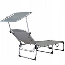 Шезлонг (лежак) для пляжа, террасы и сада с навесом Springos GC0038, фото 2