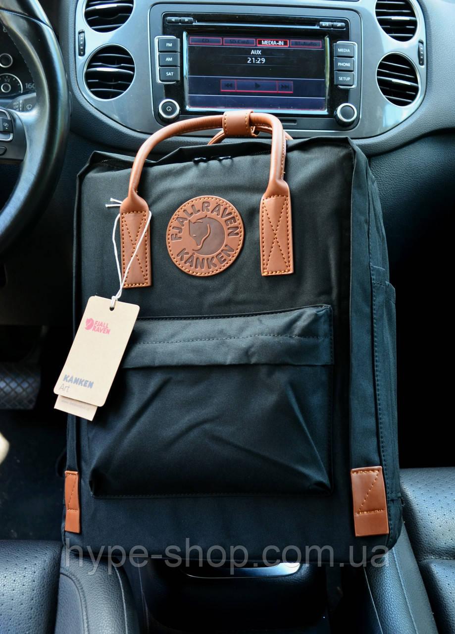 Рюкзак Kanken Classic black leather 16 литров портфель канкен класик черный с кожаными ручками