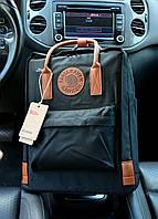 Рюкзак Kanken Classic black leather 16 литров портфель канкен класик черный с кожаными ручками, фото 1