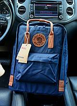 Рюкзак Kanken Classic navy blue leather 16 литров портфель канкен класик темно-синий с кожаными ручками