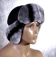 Мужская меховая шапка Ушанка из рекса и кожи