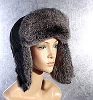 Мужская меховая шапка Ушанка из тонированного кролика и плащевки 72d3acc0a8936