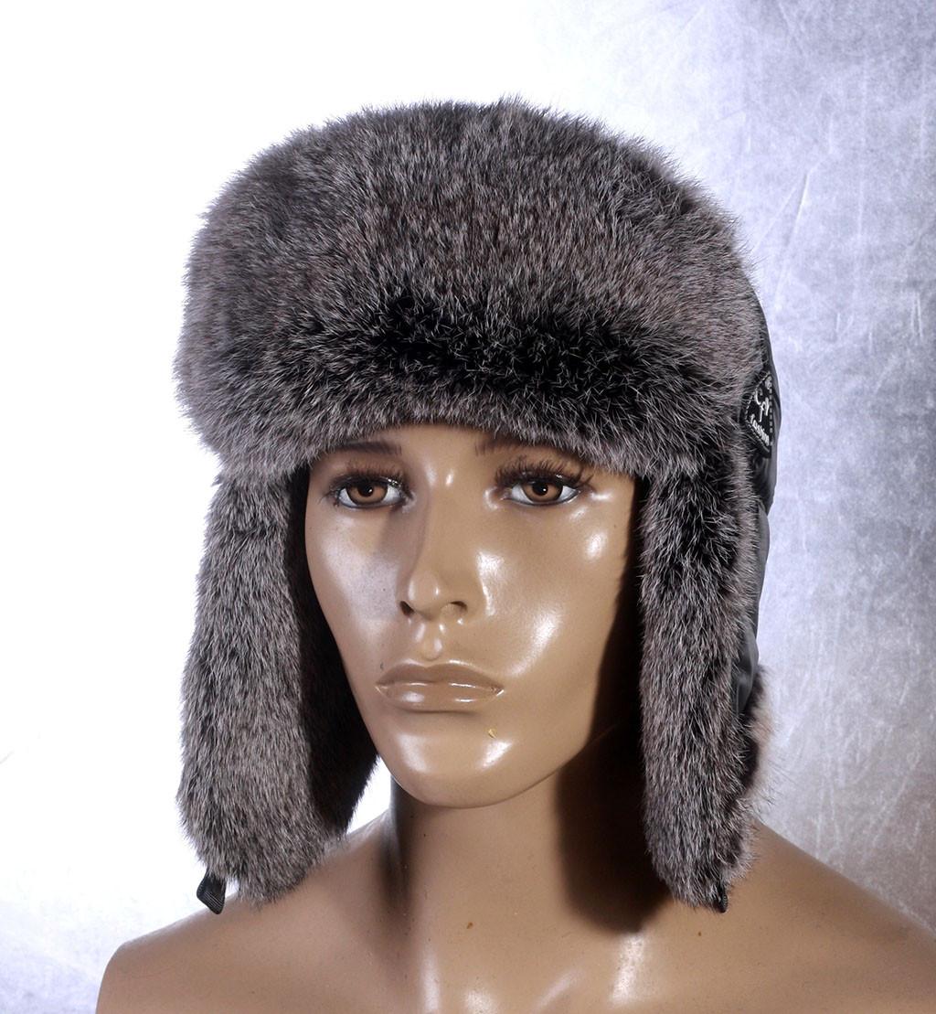 Мужская меховая шапка Ушанка из тонированного кролика и плащевки