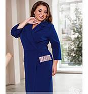 / Розмір 50,52,54,56,58,60 / Жіноче плаття-міді приталеного силуету / 1809-Електрик, фото 2