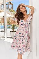 Легкое женское платье назапах, юбка клёш, тонкие бретели на завязках с открытыми плечами и рукавами-крылышками, фото 1