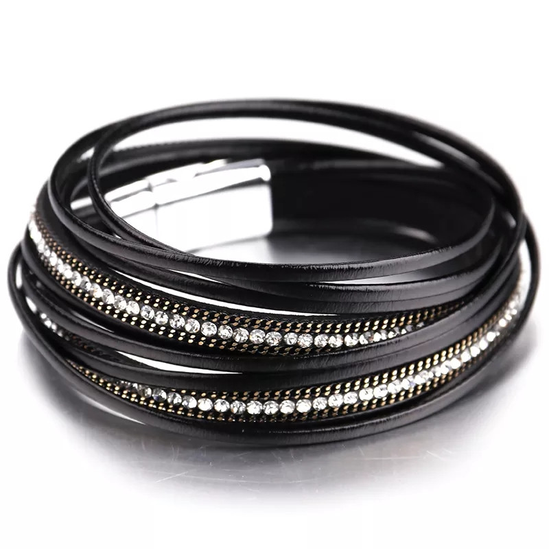 Стильний шкіряний браслет або чокер Чорний