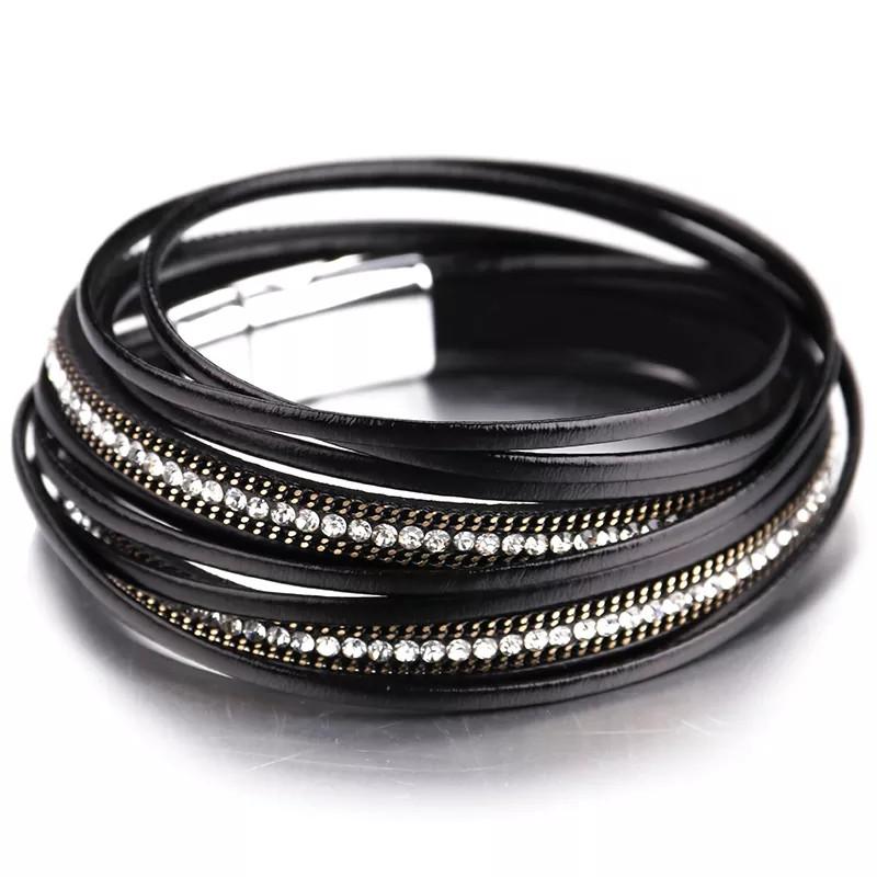 Стильный кожаный браслет или чокер Черный