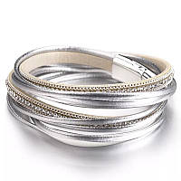 Стильный кожаный браслет или чокер Серебро