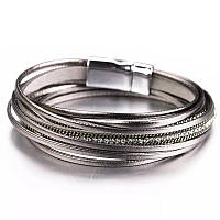 Стильный кожаный браслет или чокер Серый