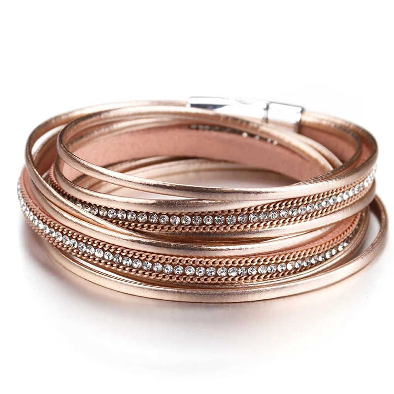 Стильный кожаный браслет или чокер Золото