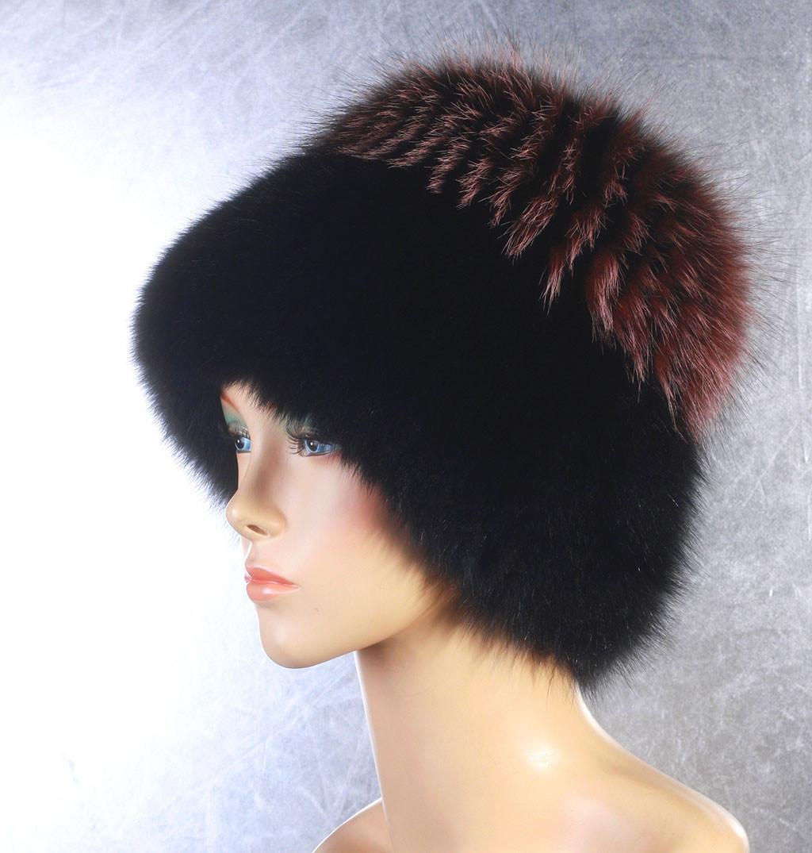 Женская меховая шапка Одуванчик из песца и чернобурки