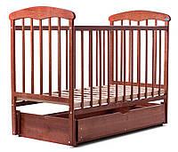 Манеж-кроватка «Наталка» с маятником и ящиком (ясень темный)