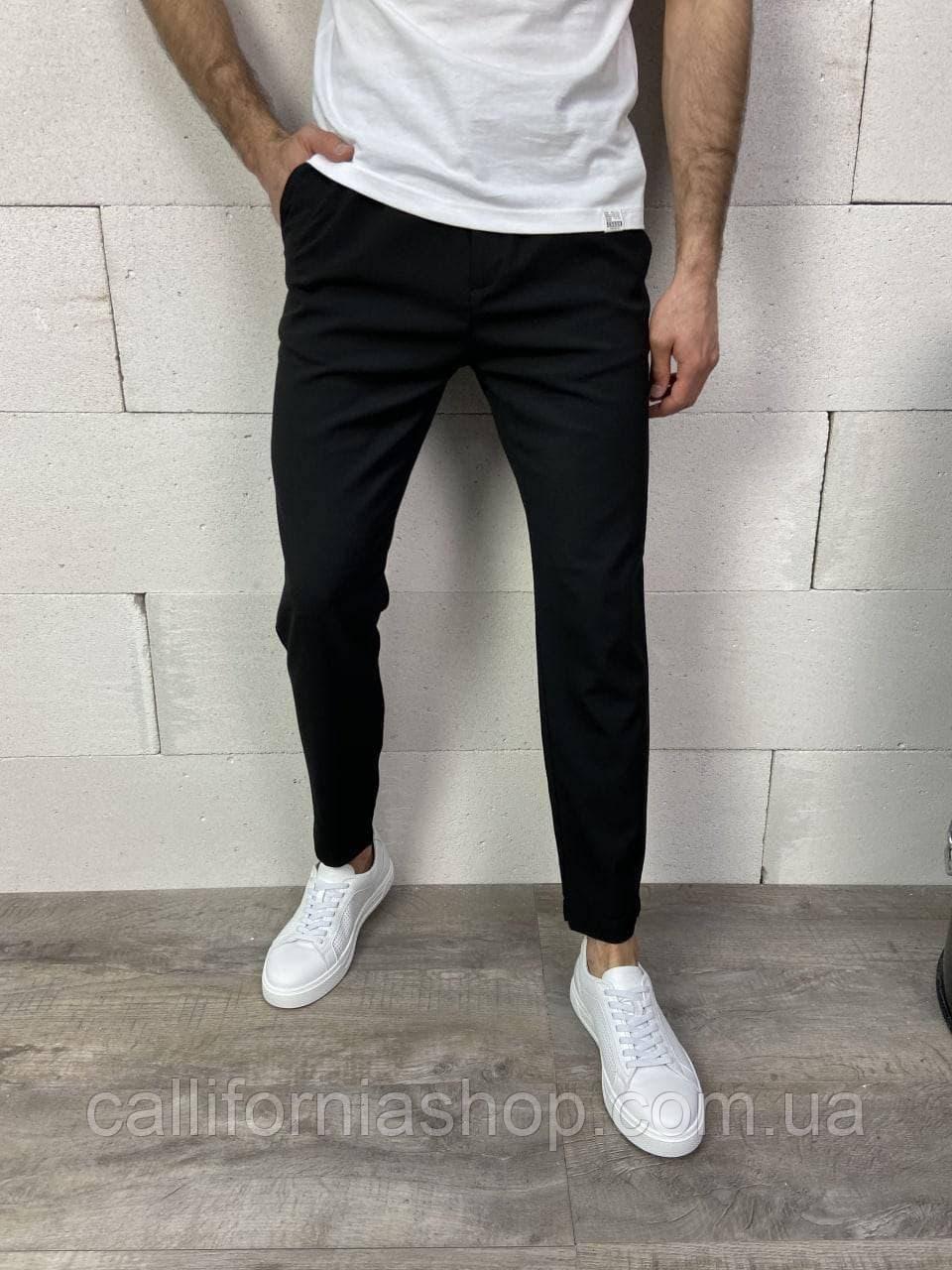 Чоловічі чорні штани штани чінос