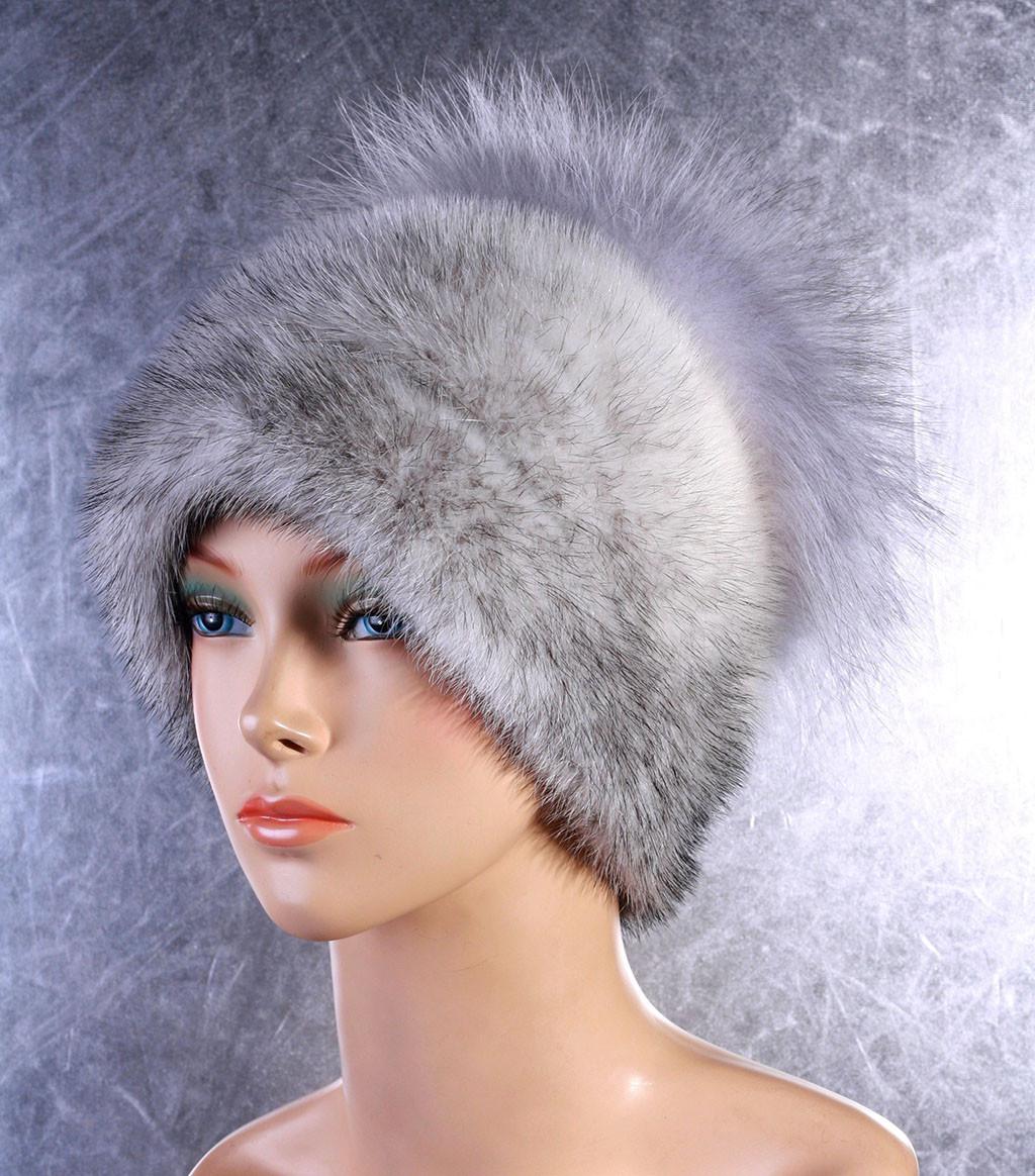Жіноча хутрова шапка Чиполліно з норки і чорнобурки
