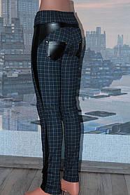 Леггинсы женские с вставками из кожзама, р 44