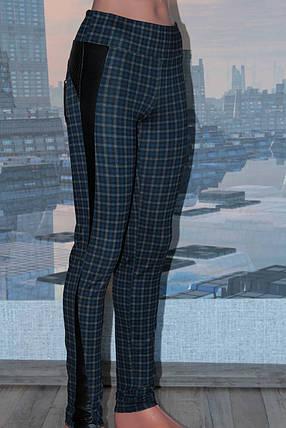 Леггинсы женские с вставками из кожзама, р 44, фото 2