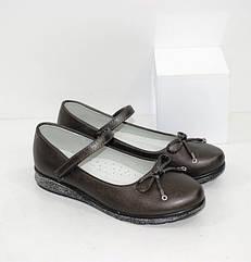 Туфли на девочку графитового цвета (30-37 рр.)