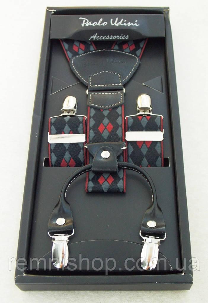 Чоловічі стильні підтяжки Paolo Udini чорно-червоні