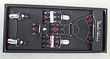 Чоловічі стильні підтяжки Paolo Udini чорно-червоні, фото 3