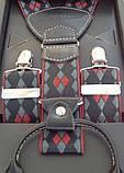 Чоловічі стильні підтяжки Paolo Udini чорно-червоні, фото 4