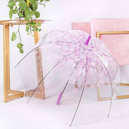 """Прозорий дитячий парасольку-тростину RST112A """"Сакура"""" Фіолетовий, фото 2"""