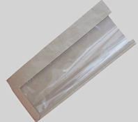 Пакет с п/п окном 290х100х40х40 (Бурый крафт)