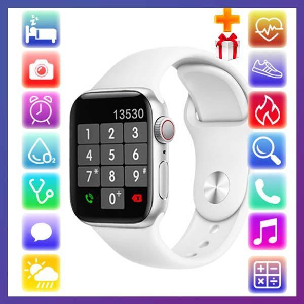 Смарт годинник Фітнес браслет трэккер Apl Watch Series 6 YY21 пульсометром тонометром два браслета сірі + Подарунок