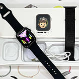 Смарт годинник Фітнес браслет трэккер Apl Watch Series 6 YY21 пульсометром тонометром два браслета сірі + Подарунок, фото 9