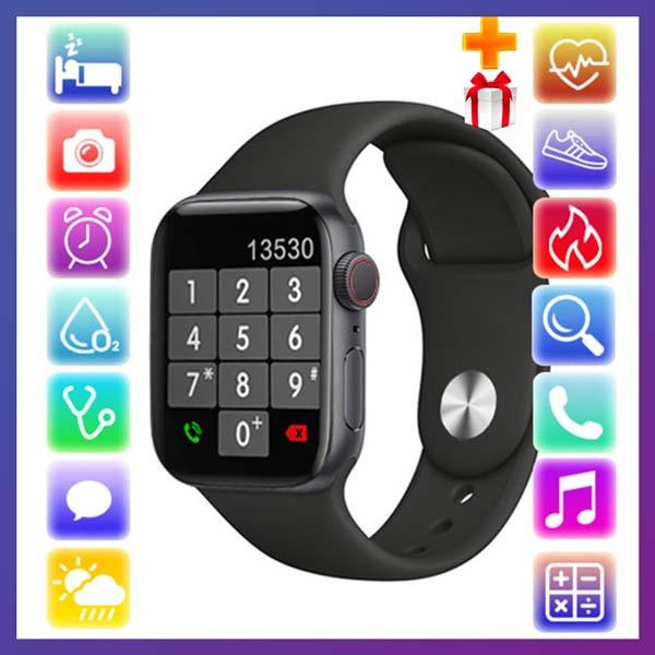 Смарт годинник Фітнес браслет трэккер Apl Watch YY21 пульсометром тонометром два браслета чорні + Подарунок