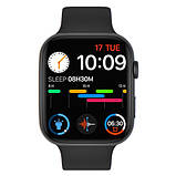 Смарт годинник Фітнес браслет трэккер Apl Watch YY21 пульсометром тонометром два браслета чорні + Подарунок, фото 2