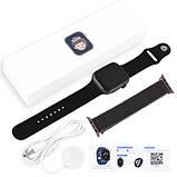 Смарт годинник Фітнес браслет трэккер Apl Watch YY21 пульсометром тонометром два браслета чорні + Подарунок, фото 8
