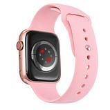 Смарт годинник Фітнес браслет трэккер Apl Watch M44 пульсометром тонометром магнітна зарядка рожеві + Подарунок, фото 4