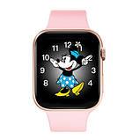 Смарт годинник Фітнес браслет трэккер Apl Watch M44 пульсометром тонометром магнітна зарядка рожеві + Подарунок, фото 5