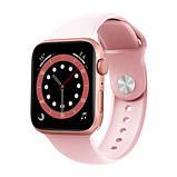 Смарт годинник Фітнес браслет трэккер Apl Watch M44 пульсометром тонометром магнітна зарядка рожеві + Подарунок, фото 6