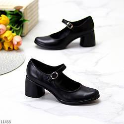 Черные кожаные женские туфли натуральная кожа на удобном каблуке классика