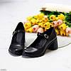 Чорні шкіряні жіночі туфлі натуральна шкіра на зручному каблуці класика, фото 2
