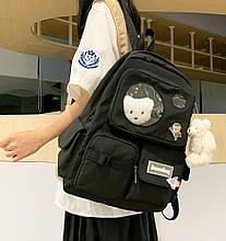 Женский рюкзак. Рюкзак для учебы без игрушек, со значком собачкой. Женская сумка черная. Ранец. ДР09-1